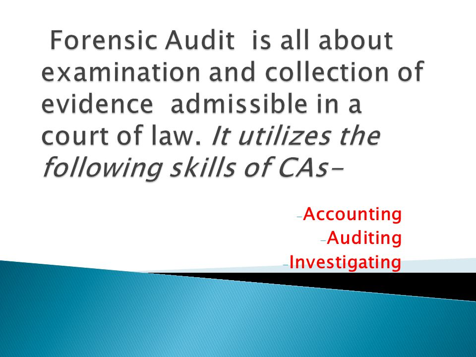 Accounting Auditing Investigating