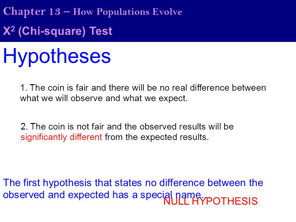 Hypotheses Chapter 13 – How Populations Evolve Χ2 (Chi-square) Test