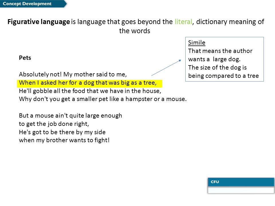 Concept Development Figurative language is language that goes beyond the literal, dictionary meaning of the words.