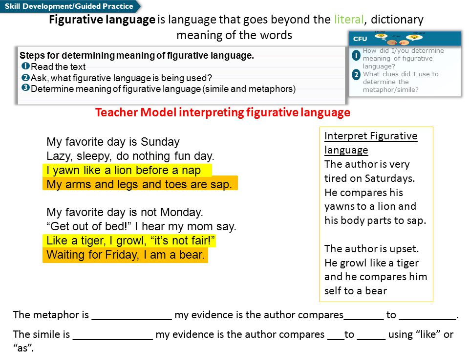 Teacher Model interpreting figurative language