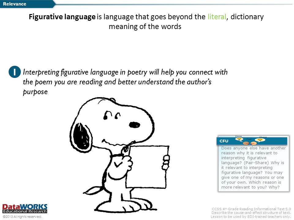 Relevance Figurative language is language that goes beyond the literal, dictionary meaning of the words.