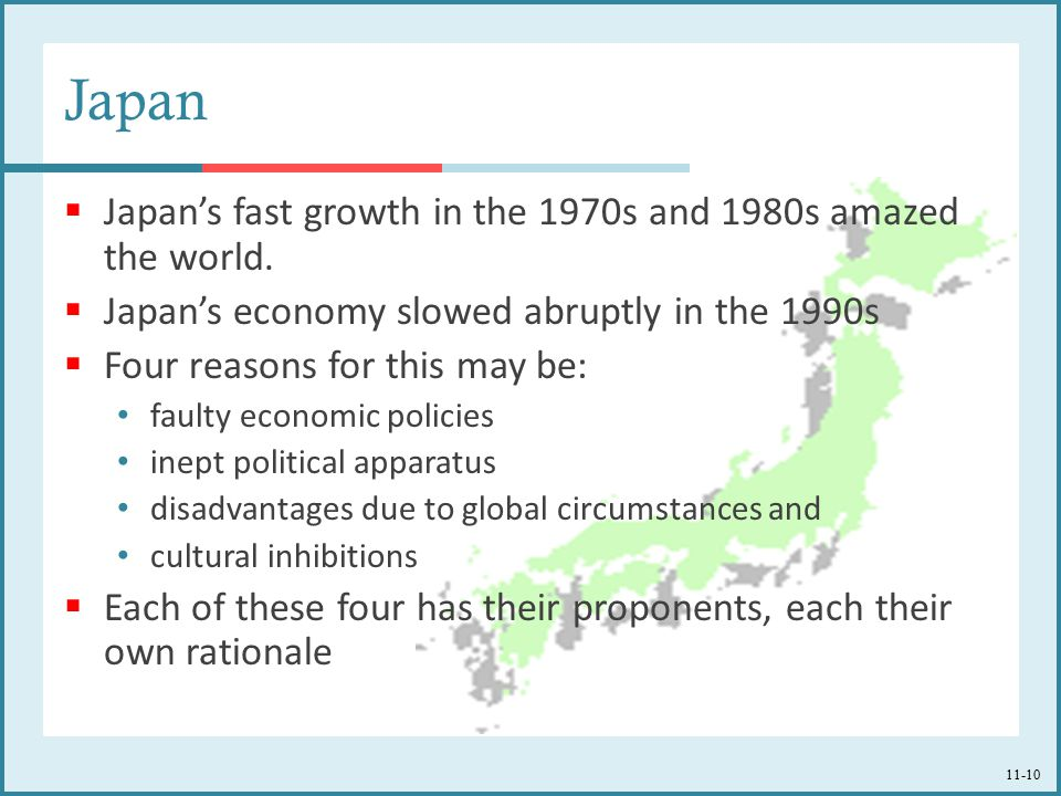 Japan Japan's fast growth in the 1970s and 1980s amazed the world.