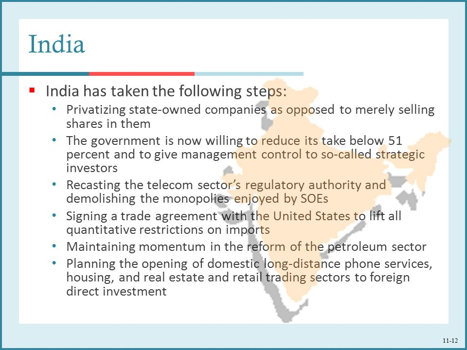 India India has taken the following steps:
