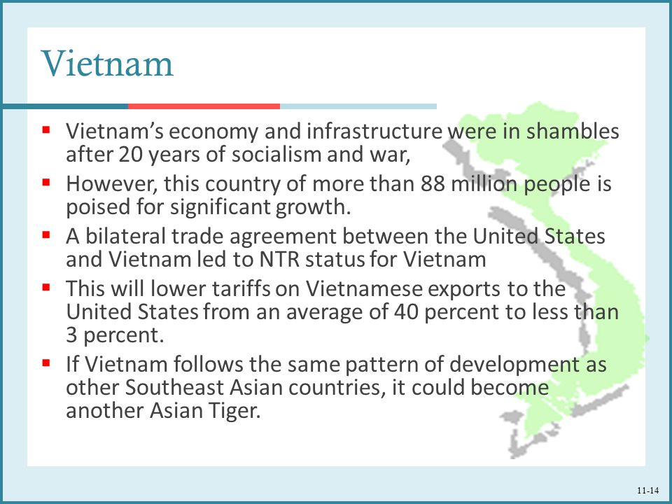 Vietnam Vietnam's economy and infrastructure were in shambles after 20 years of socialism and war,