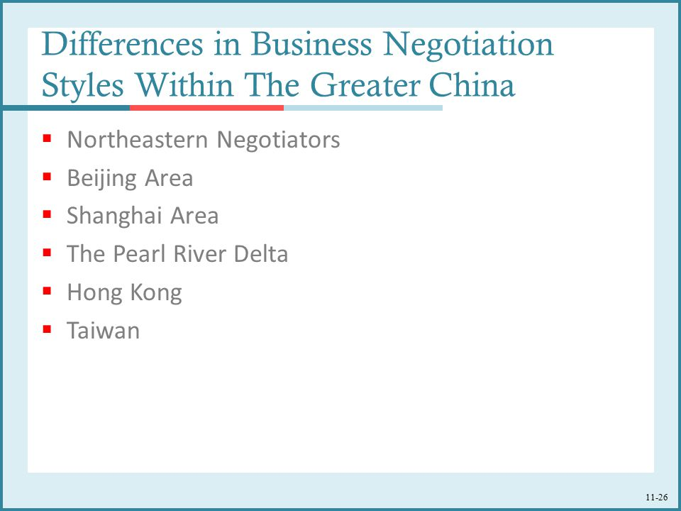 Differences in Business Negotiation Styles Within The Greater China