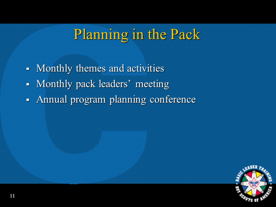 Planning in the Pack Monthly themes and activities
