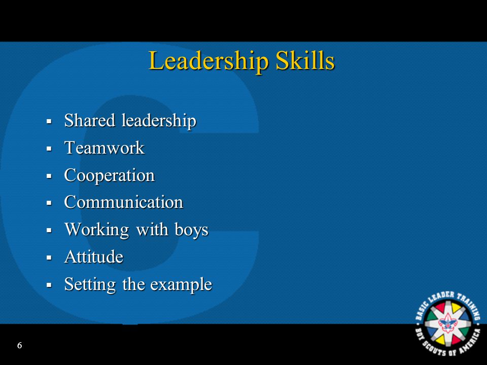 Leadership Skills Shared leadership Teamwork Cooperation Communication