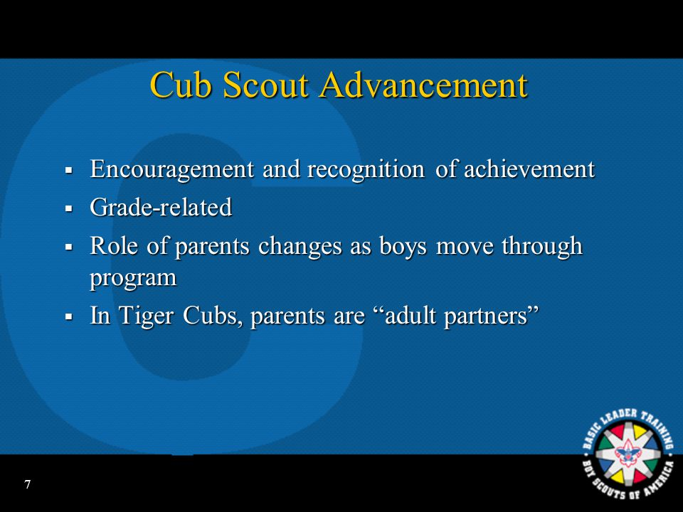 Cub Scout Advancement Encouragement and recognition of achievement