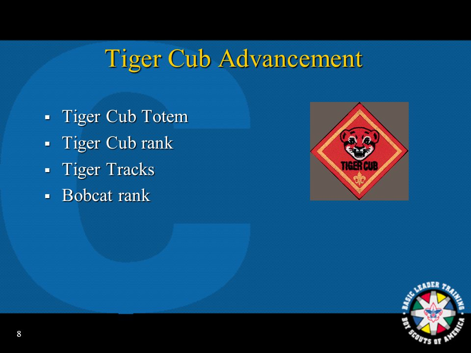 Tiger Cub Advancement Tiger Cub Totem Tiger Cub rank Tiger Tracks