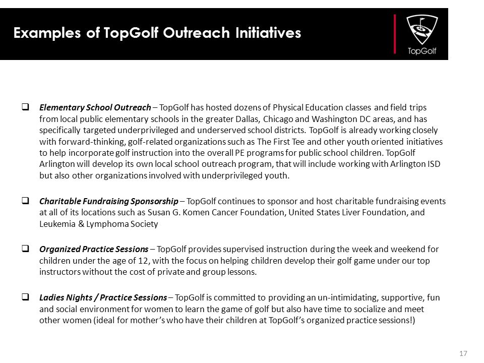 Examples of TopGolf Outreach Initiatives