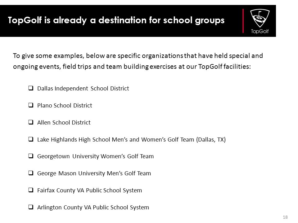 TopGolf is already a destination for school groups