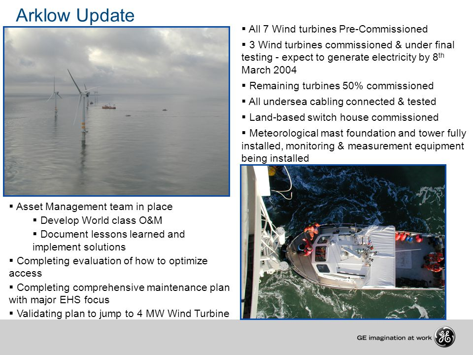 Arklow Update All 7 Wind turbines Pre-Commissioned