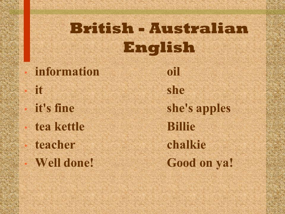 British - Australian English