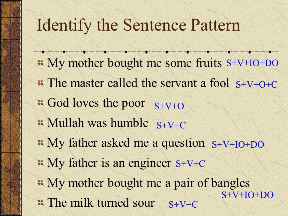 Identify the Sentence Pattern