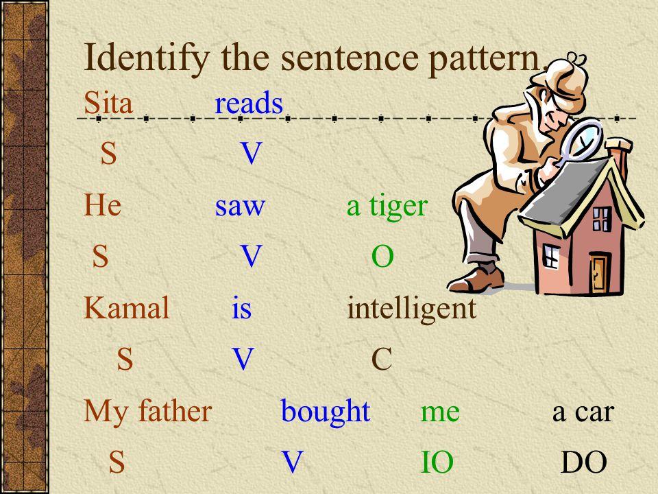 Identify the sentence pattern.
