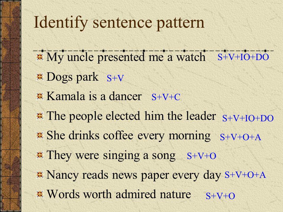 Identify sentence pattern