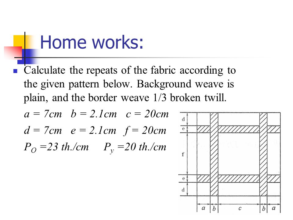 Home works: