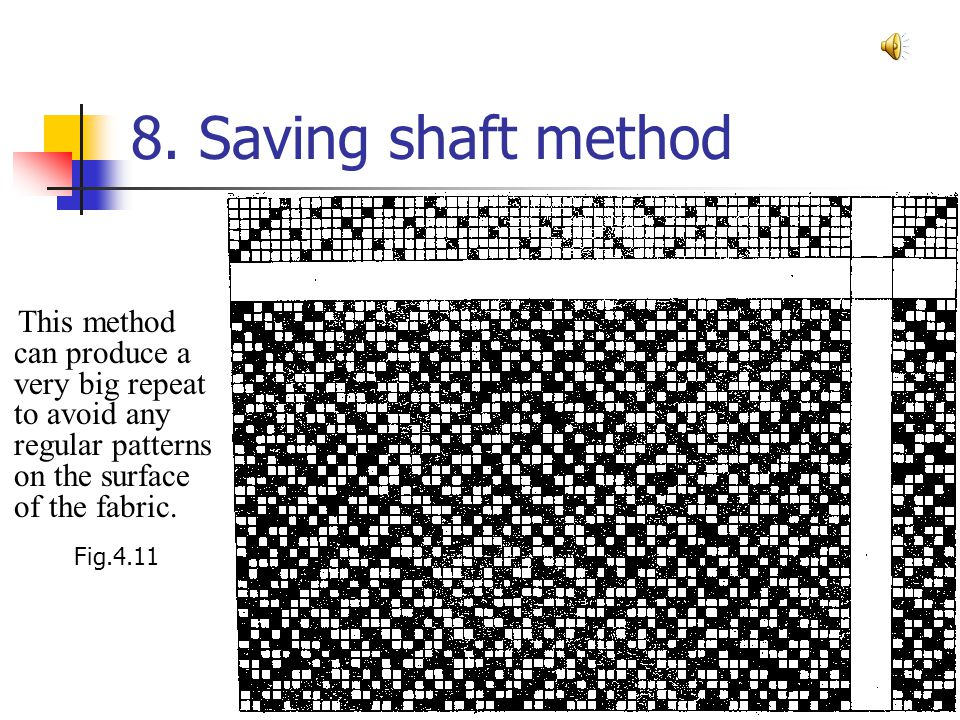 8. Saving shaft method This method can produce a very big repeat to avoid any regular patterns on the surface of the fabric.