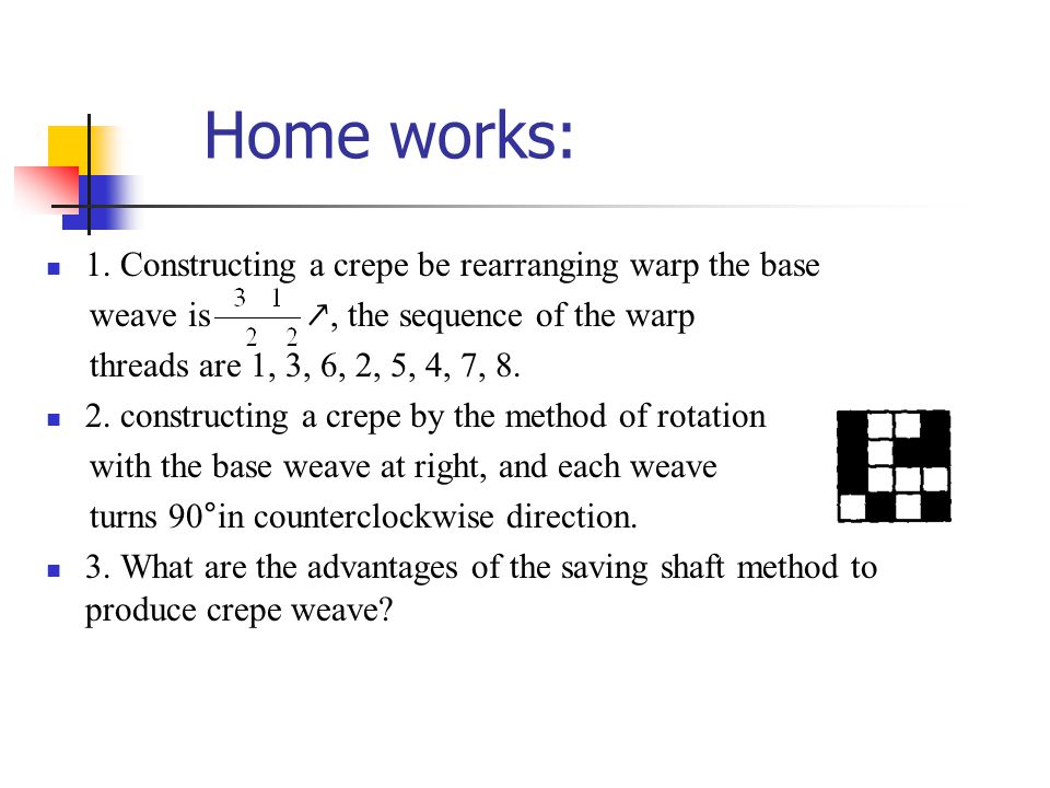 Home works: 1. Constructing a crepe be rearranging warp the base