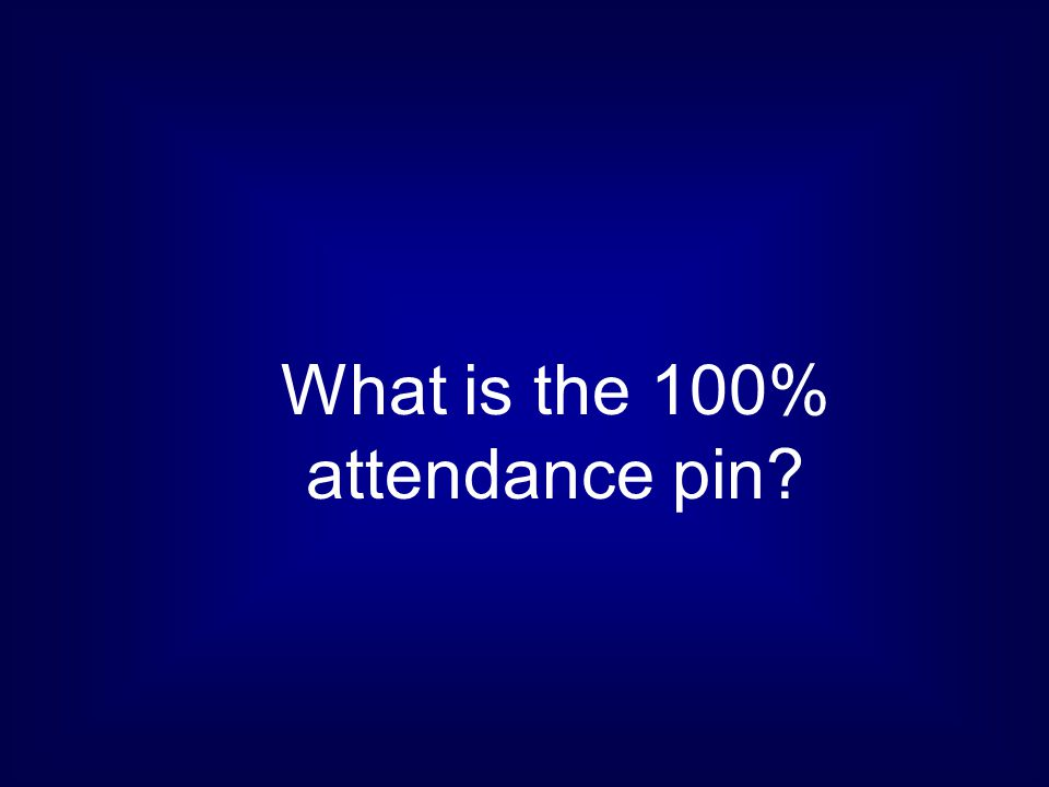 What is the 100% attendance pin