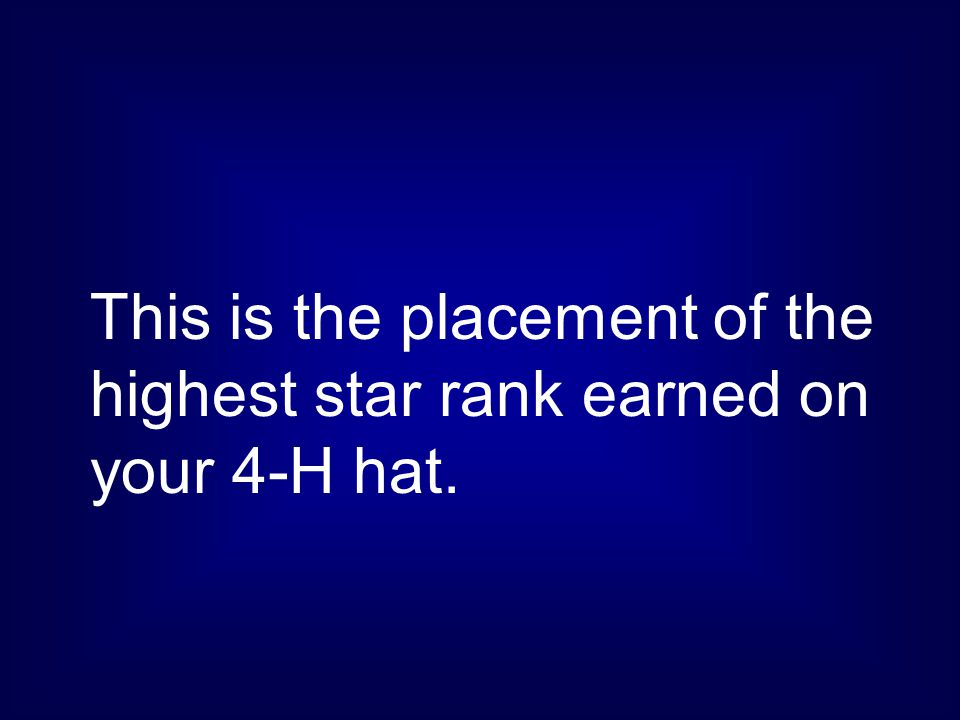 This is the placement of the highest star rank earned on your 4-H hat.