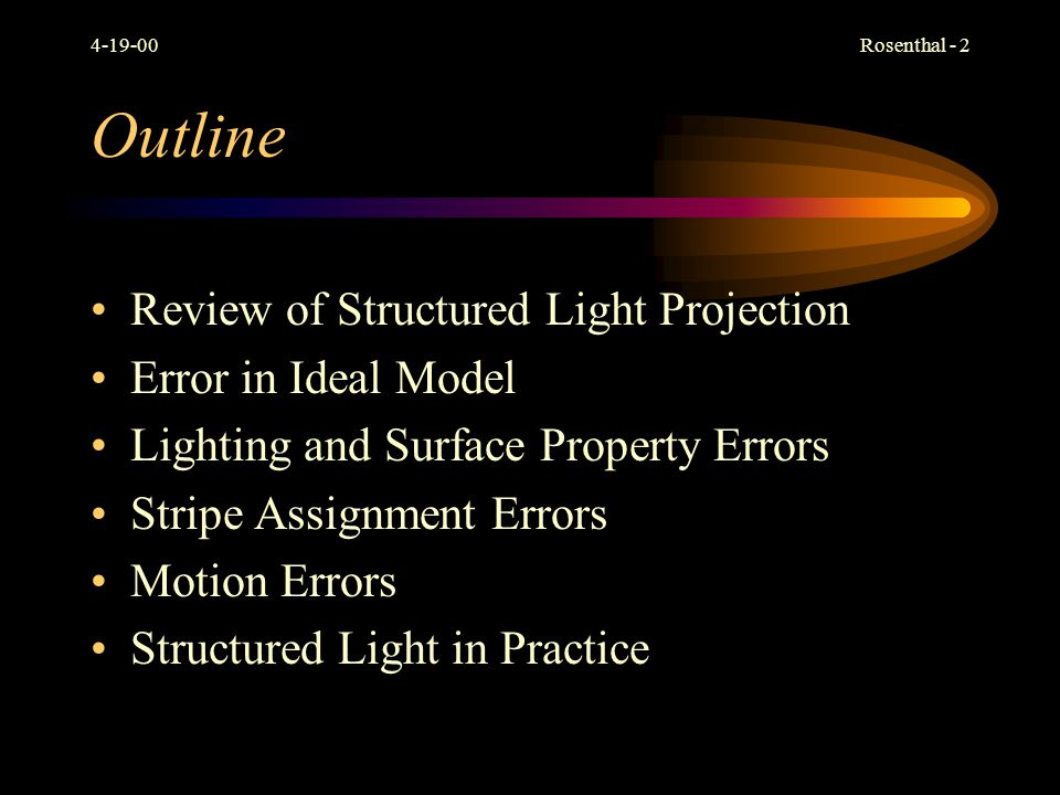 Outline Review of Structured Light Projection Error in Ideal Model