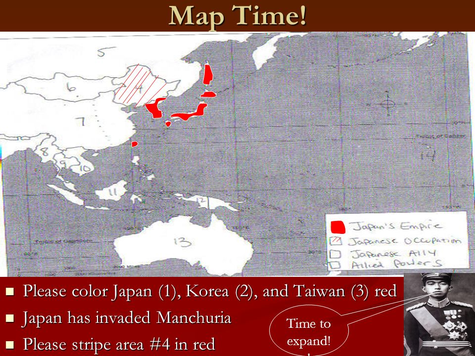 Map Time! Please color Japan (1), Korea (2), and Taiwan (3) red