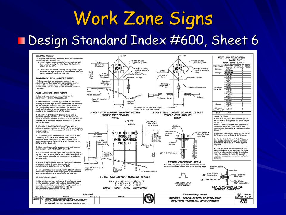 Work Zone Signs Design Standard Index #600, Sheet 6