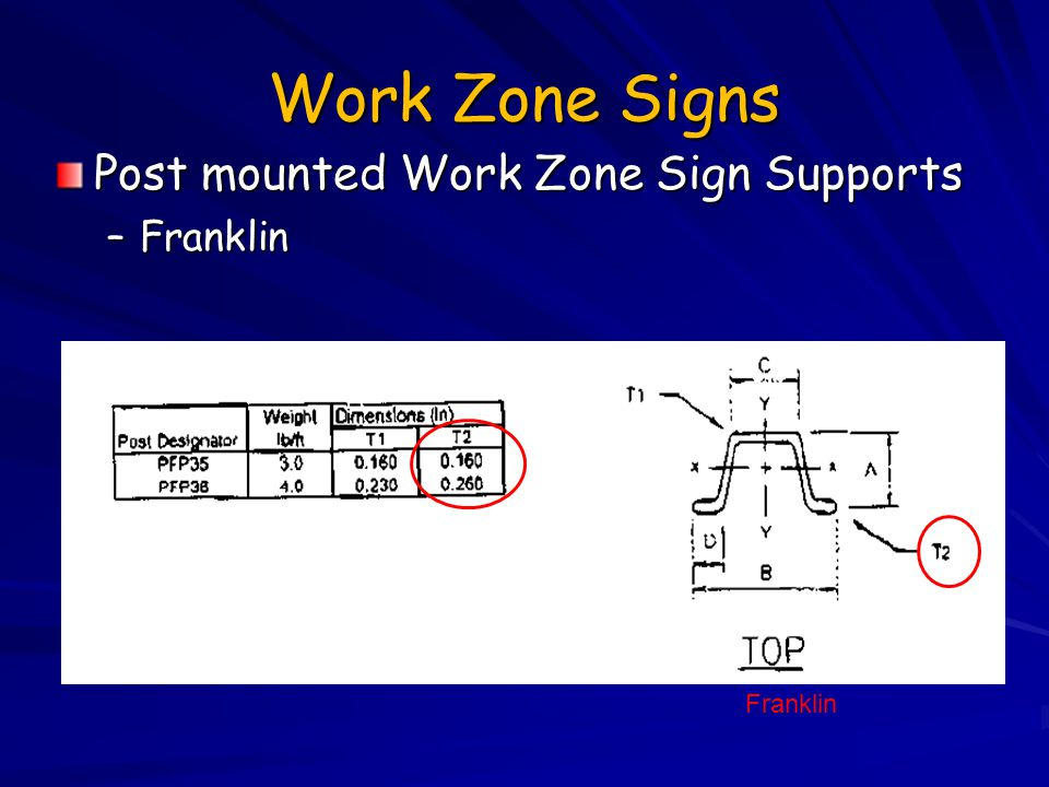 Work Zone Signs Post mounted Work Zone Sign Supports Franklin Franklin