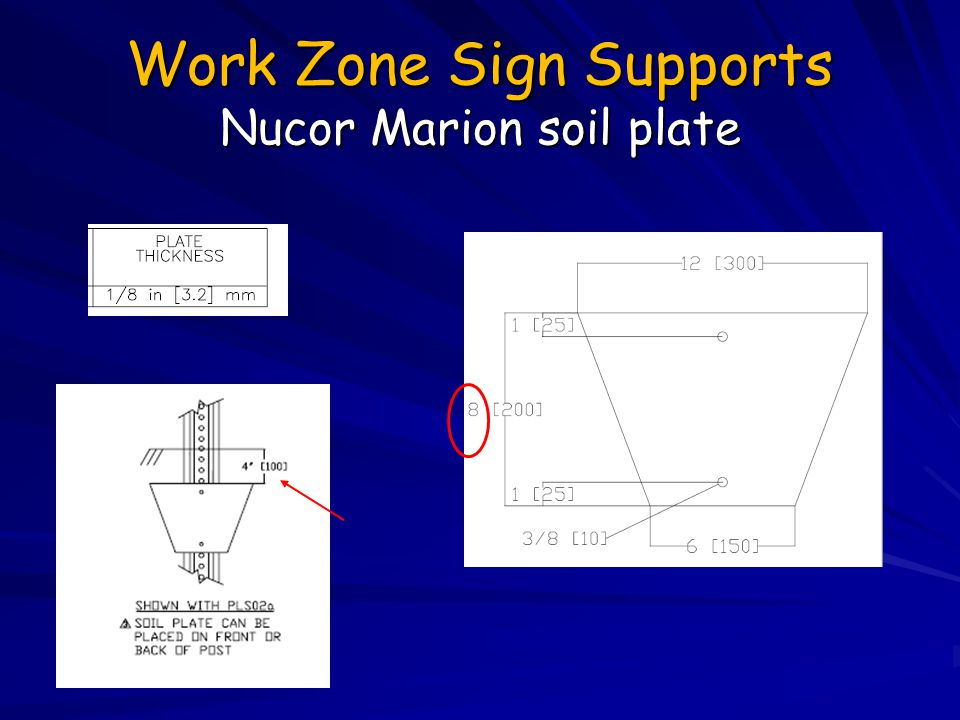 Work Zone Sign Supports Nucor Marion soil plate