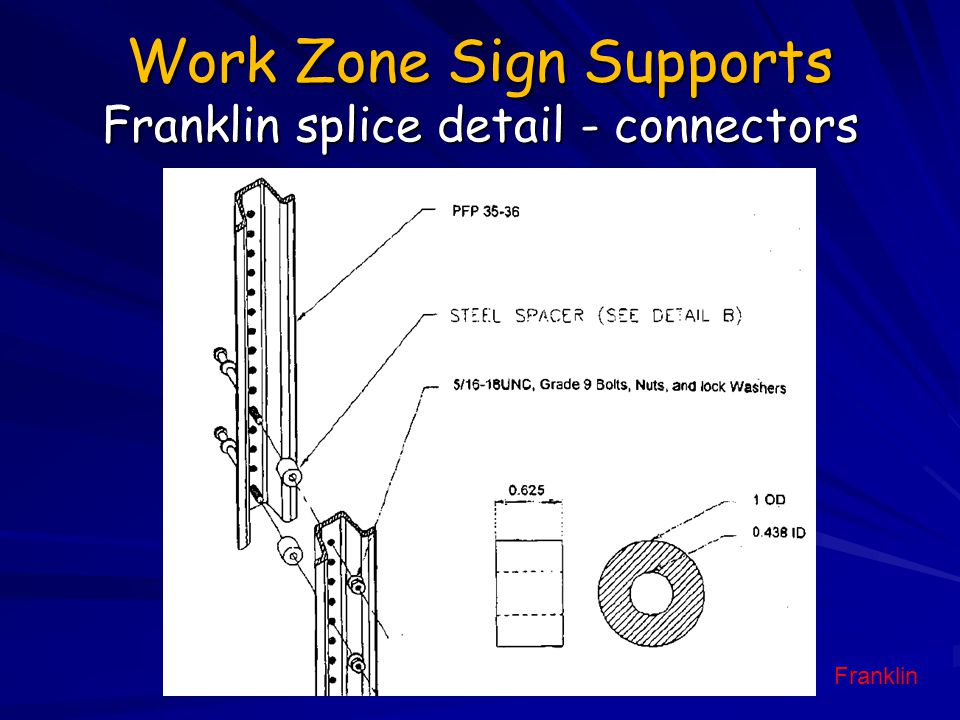 Work Zone Sign Supports Franklin splice detail - connectors