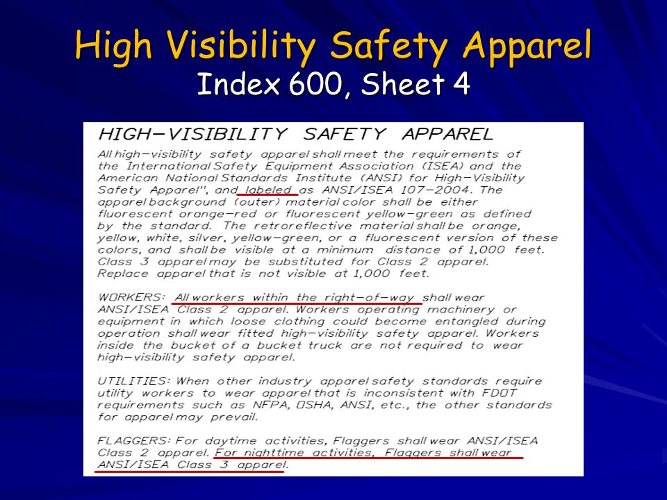 High Visibility Safety Apparel Index 600, Sheet 4
