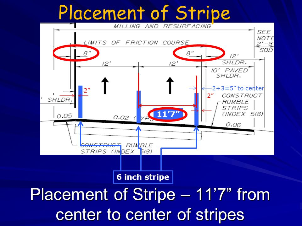 Placement of Stripe – 11'7 from center to center of stripes
