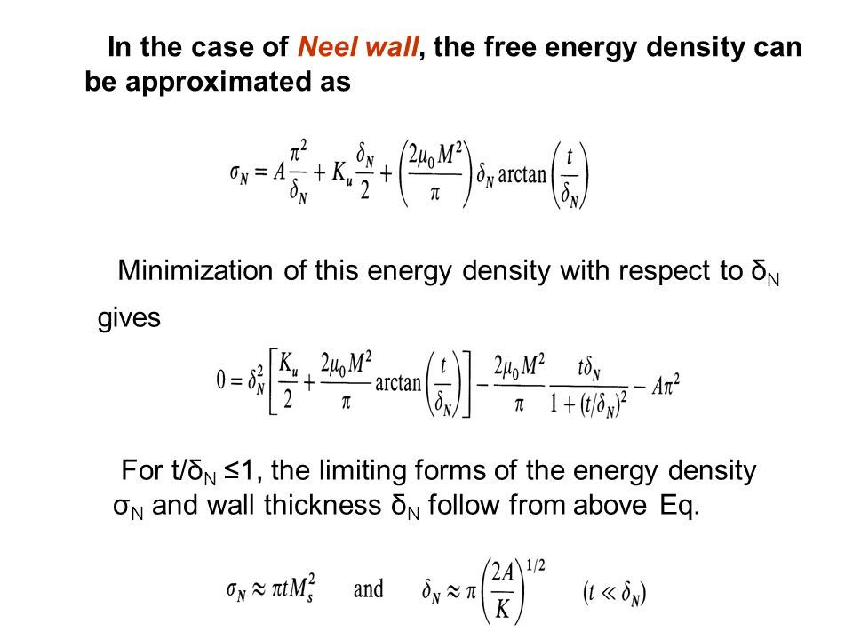 In the case of Neel wall, the free energy density can be approximated as