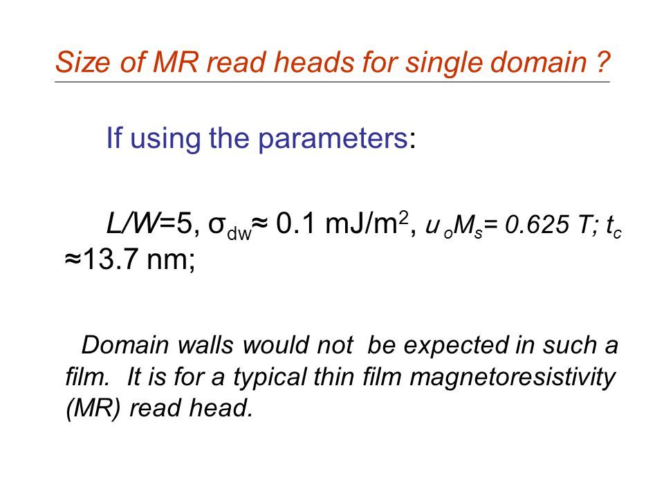 Size of MR read heads for single domain