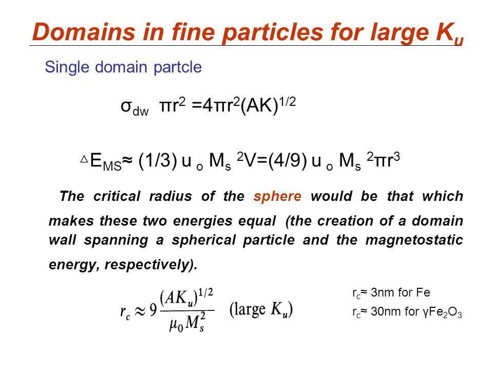 Domains in fine particles for large Ku