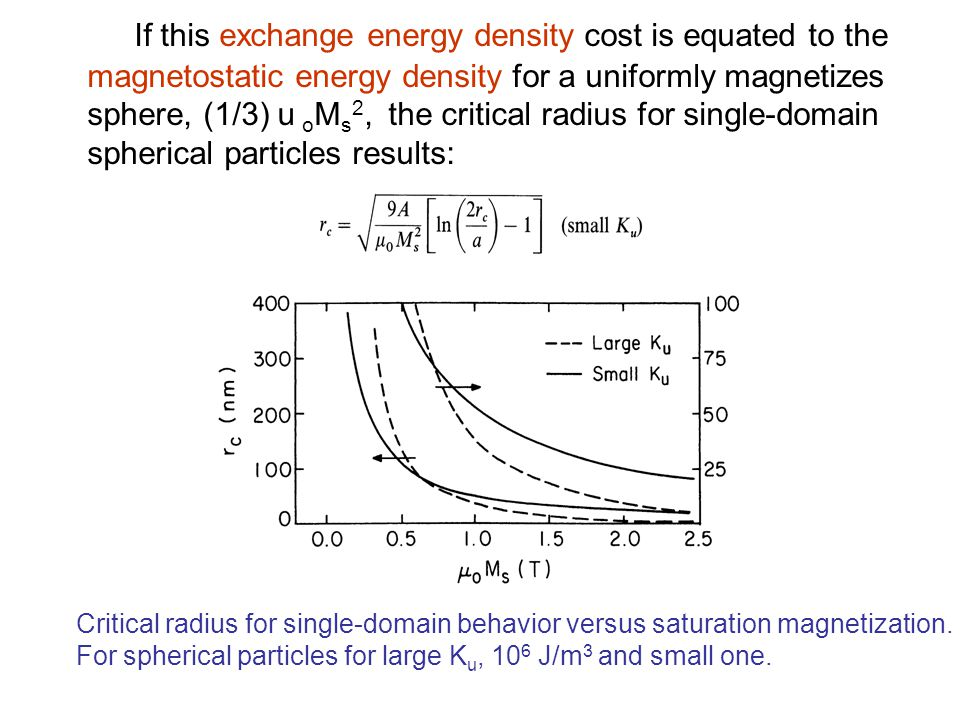 If this exchange energy density cost is equated to the magnetostatic energy density for a uniformly magnetizes sphere, (1/3)uoMs2, the critical radius for single-domain spherical particles results: