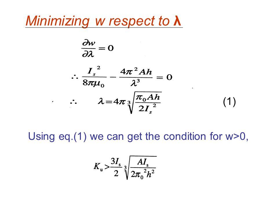 Minimizing w respect to λ