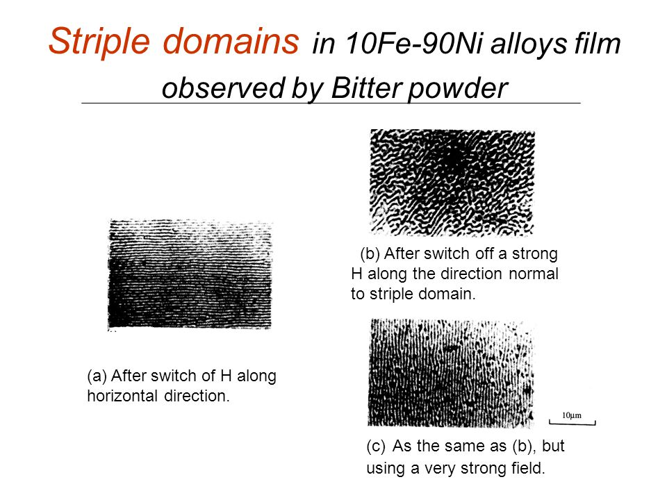 Striple domains in 10Fe-90Ni alloys film observed by Bitter powder