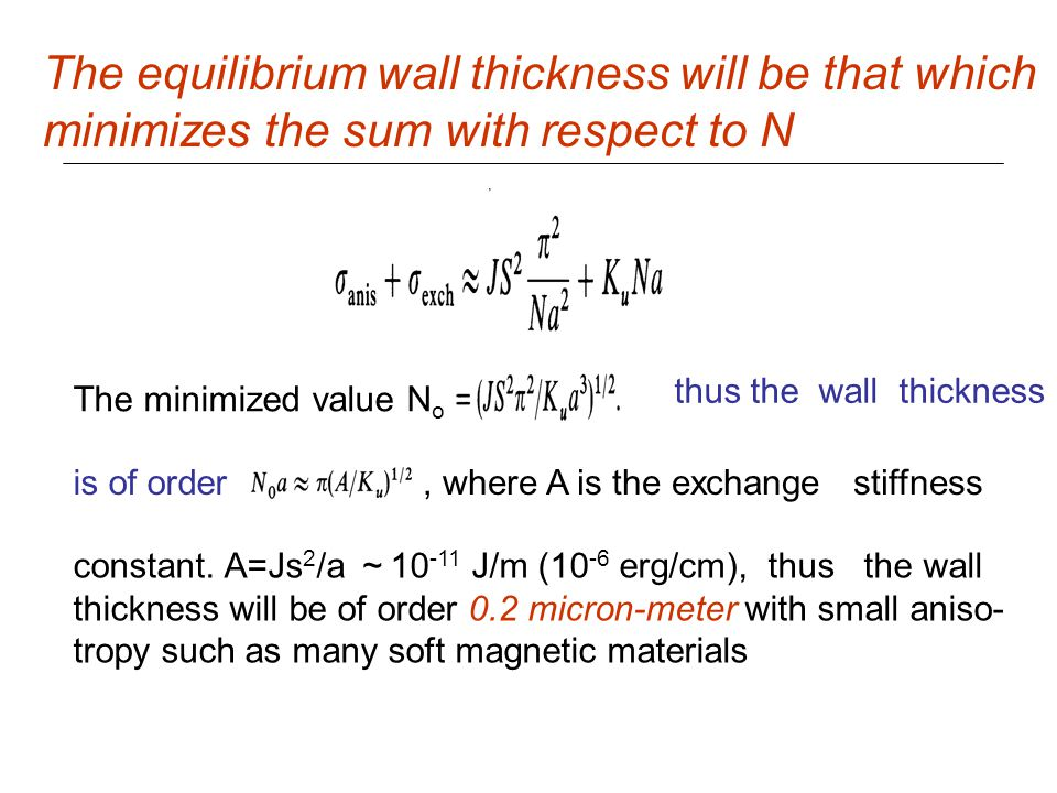 The equilibrium wall thickness will be that which