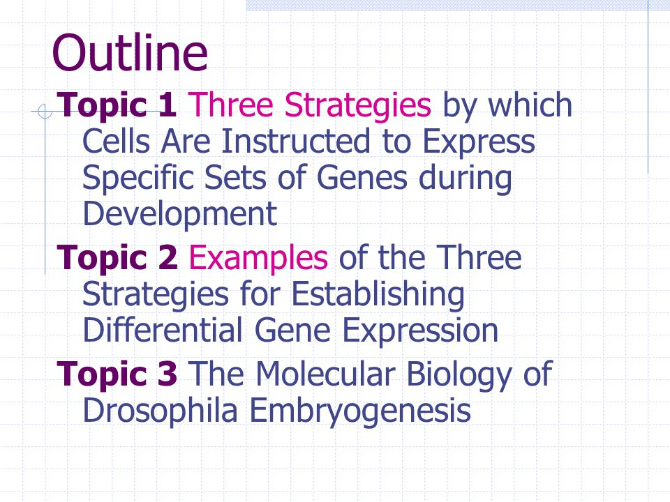 Outline Topic 1 Three Strategies by which Cells Are Instructed to Express Specific Sets of Genes during Development.