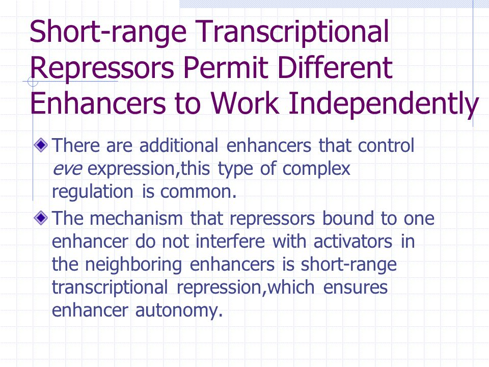 Short-range Transcriptional Repressors Permit Different Enhancers to Work Independently