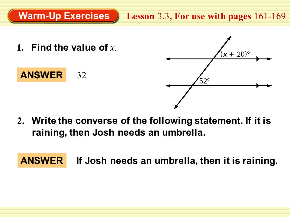 Lesson 3.3, For use with pages 161-169