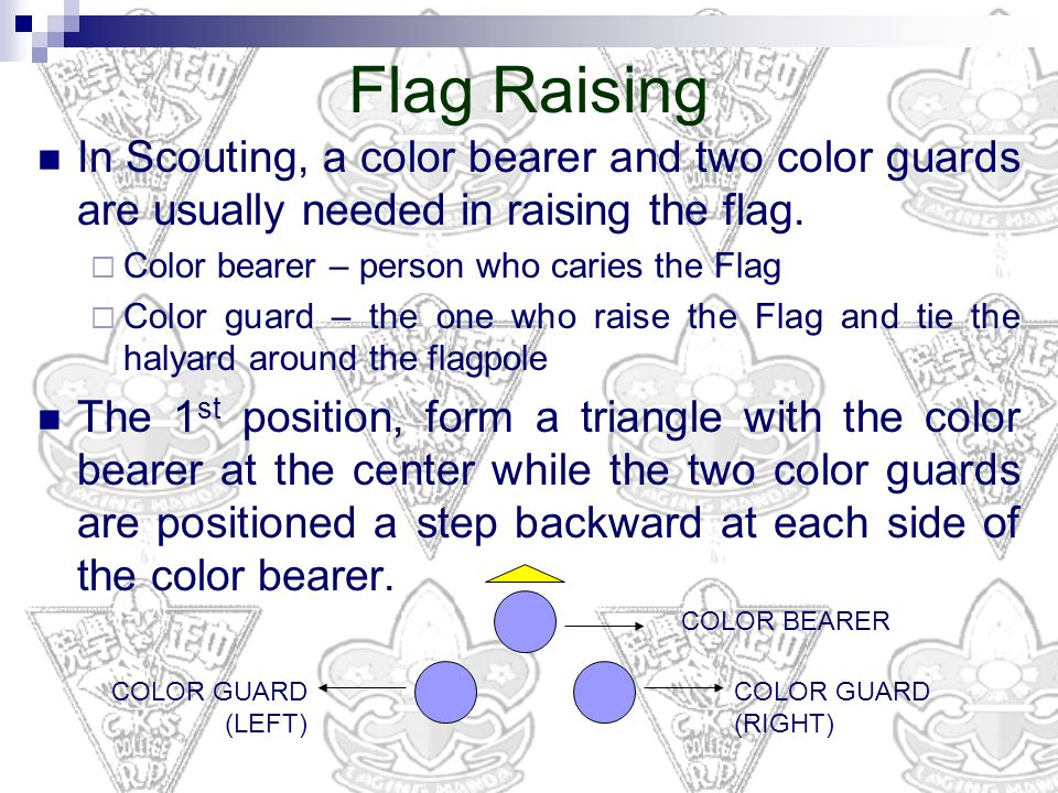 Flag Raising In Scouting, a color bearer and two color guards are usually needed in raising the flag.