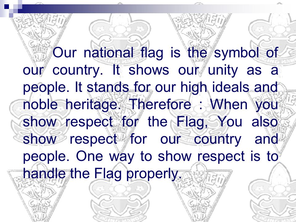 Our national flag is the symbol of our country