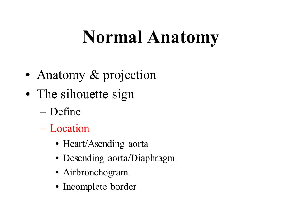 Normal Anatomy Anatomy & projection The sihouette sign Define Location