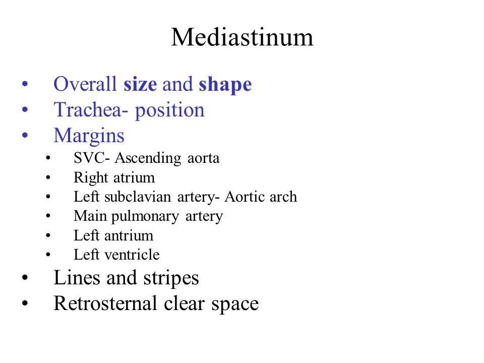 Mediastinum Overall size and shape Trachea- position Margins