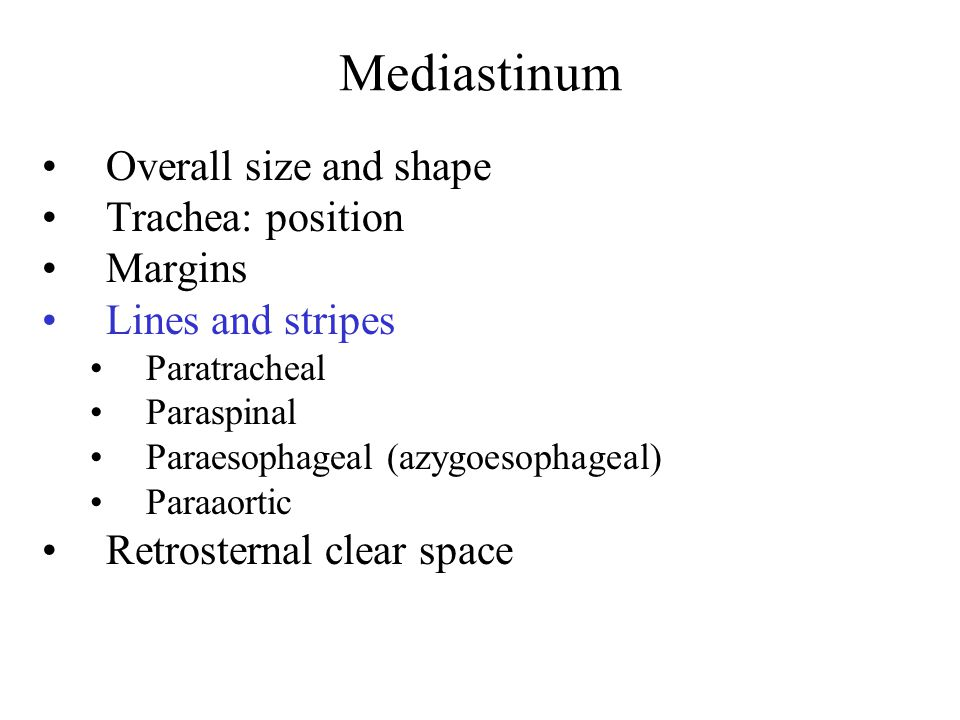 Mediastinum Overall size and shape Trachea: position Margins