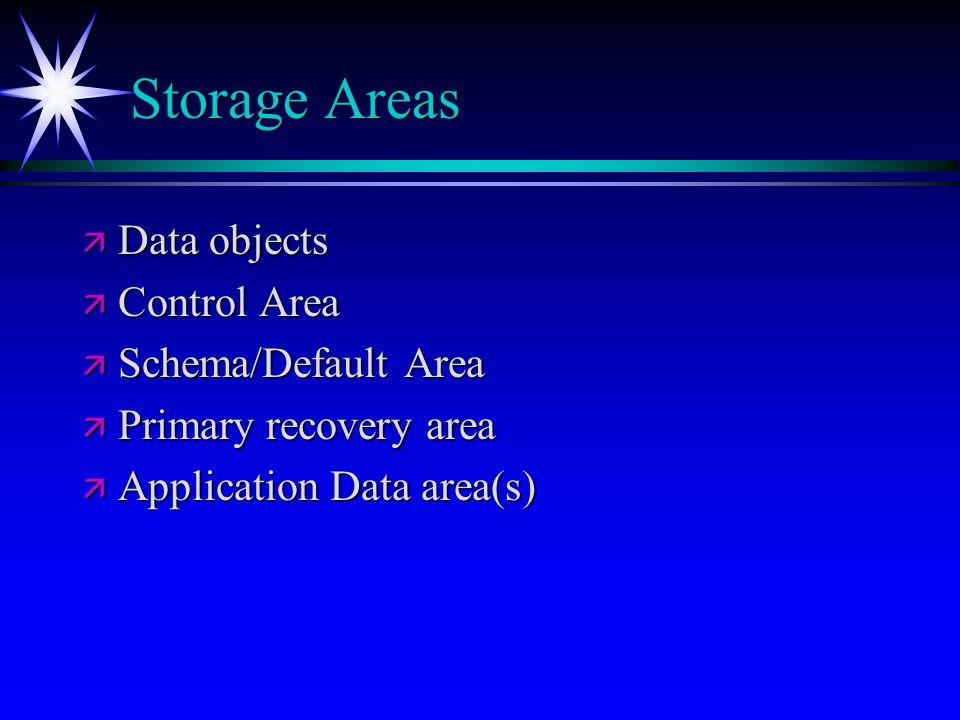 Storage Areas Data objects Control Area Schema/Default Area
