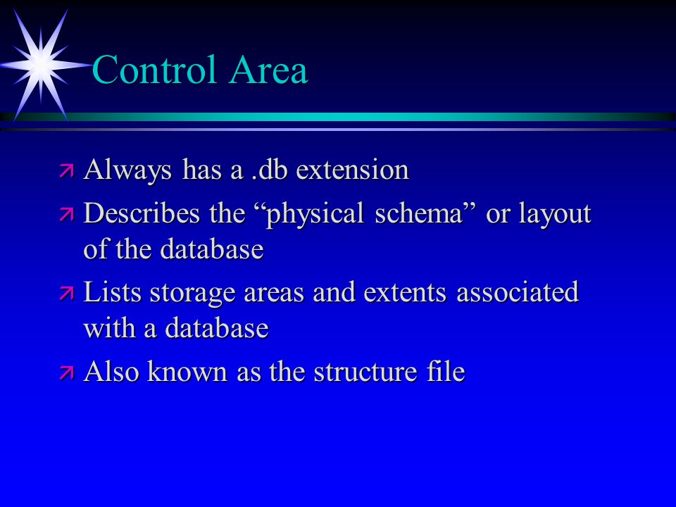 Control Area Always has a .db extension